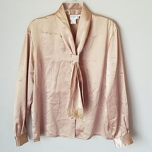 Vintage Gold Satin Blouse